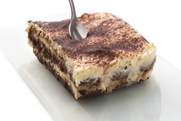 tiramisu dessert isolated on white