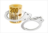 Many 200 euro bills with handcuffs. isolated on white