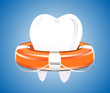 Illustration of tooth with lifebuoy on a blue background