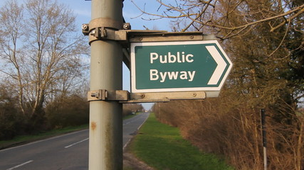 Public Byway sign indicates a public footpath. Cambridgeshire.