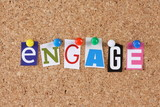 The word Engage in cut out magazine letters