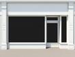 Leinwanddruck Bild - Shopfront with large windows. White store facade.