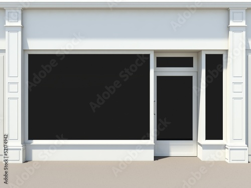 Leinwanddruck Bild Shopfront with large windows. White store facade.