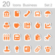 20 icons business orange set 2