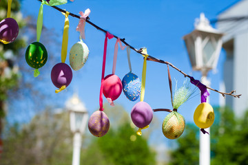 Easter eggs decorated on tree
