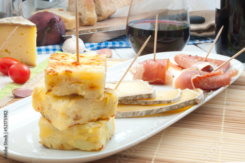Spanish omelette and tapas platter