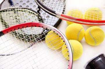 Racket sports still life.