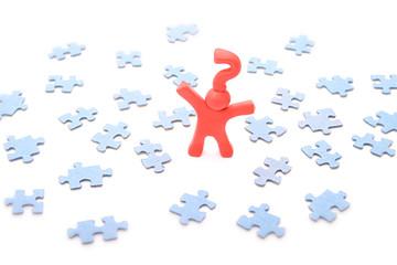 Puzzleproblem mit Fragezeichenmännchen