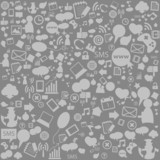 Social network background with media icons. Vector illustration poster