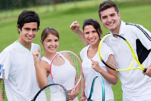 Tennis players celebrating
