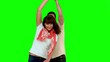 Cute couple dancing on green screen