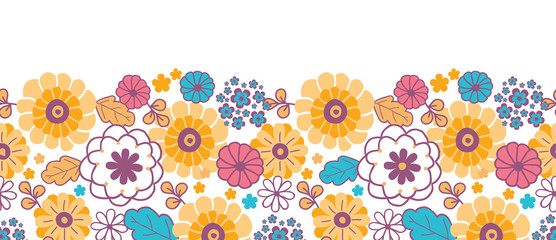 Vector colorful oriental flowers horizontal seamless pattern