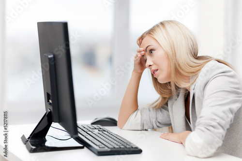 stressed woman with computer