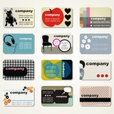 set of 9 detailed business cards on different topics