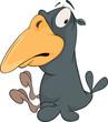 Grey raven with a yellow beak Cartoon