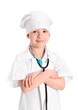 Smiling  little nurse with hands crossed