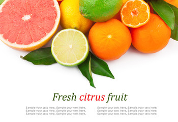 Set of fresh citrus fruits with green leaves