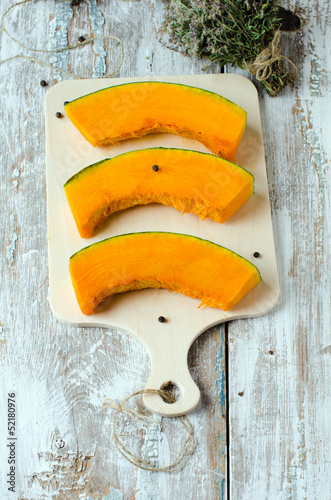 Slices of fresh pumpkin, selective focus