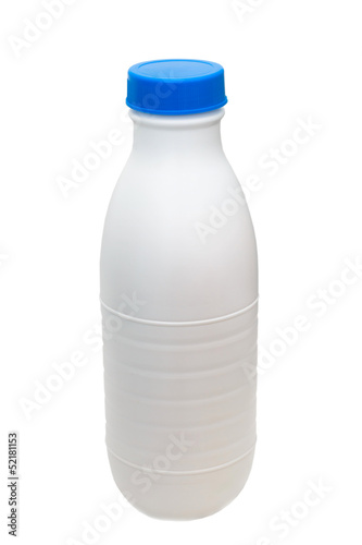 plastic milk bottle isolated on white (clipping path)