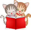 Cats reading a book