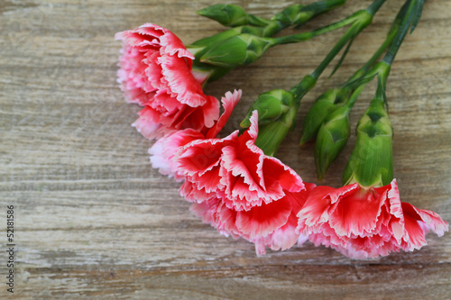 Red and white carnations on wooden background with copy space