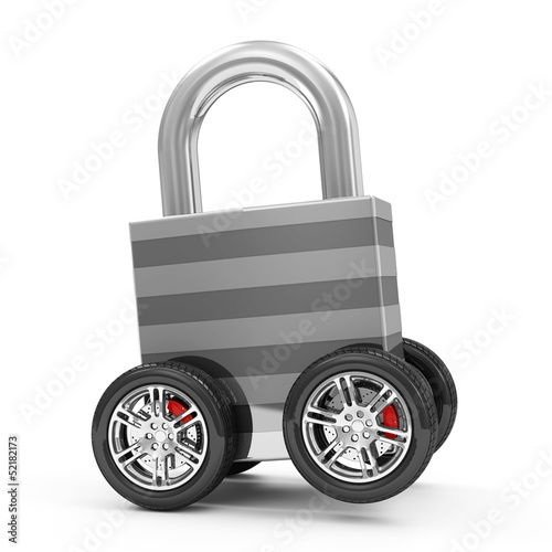 Metal Padlock on Wheels isolated on white background