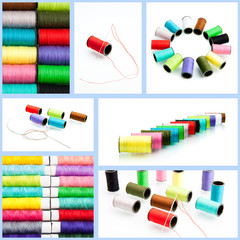 threads multicolored.  collection of color thread isolated on wh