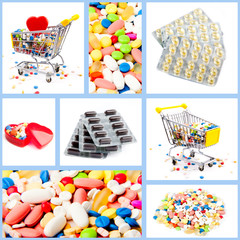 Collection of medical concepts with pills.  Colored pills, table