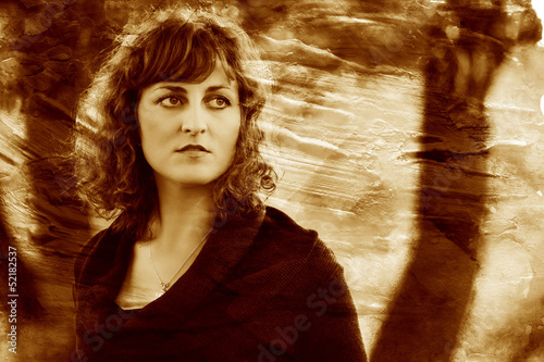 retro sepia photo curly-haired young European girl curled woman