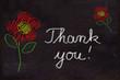 Schultafel mit Zeichnung, Blumen und Text, Thank you