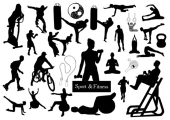 Sport and fitness silhouettes