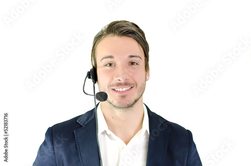 Young male telemarketing, helpdesk, customer service operator