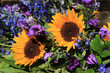 Sunflowers and purple eustoma
