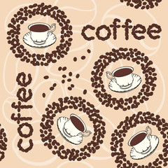 Vector background with coffee beans and cups.