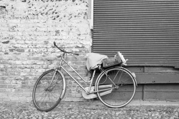 Old bycicle B&W image