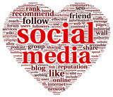 Social media love conept in word tag cloud