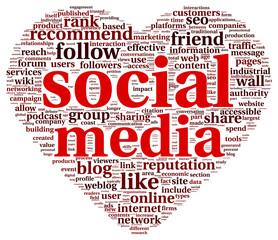 Social media love conept in word tag cloud