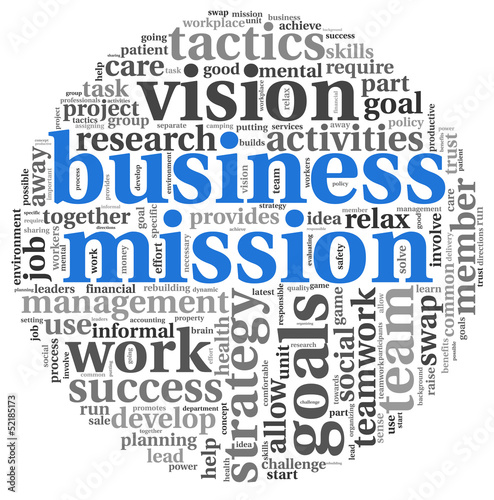 Business mission concept in word tag cloud