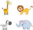 Jungle Animals Cartoon Mascot Characters.Collection