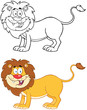 Lion Cartoon Mascot Character.Collection