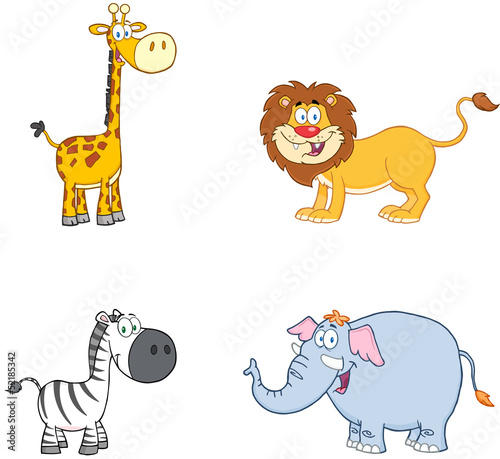 Jungle Animals Cartoon Mascot Characters.Collection