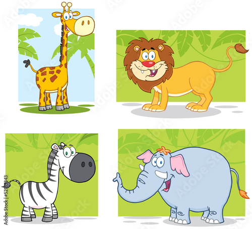 Jungle Animals Cartoon Characters With Background. Collection