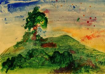 Ominous landscape, watercolor