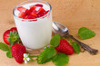 canvas print picture - natural yogurt with fresh strawberry