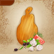 Background with a wooden board and fresh vegetables.