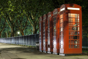 The row of old british phones