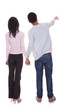 Back View Of Young Couple Pointing