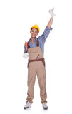Excited construction worker