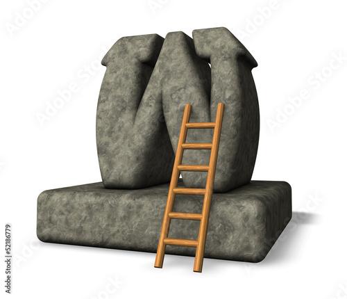steinbuchstabe und leiter