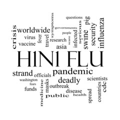 H1N1 Flu Word Cloud Concept in Black and White